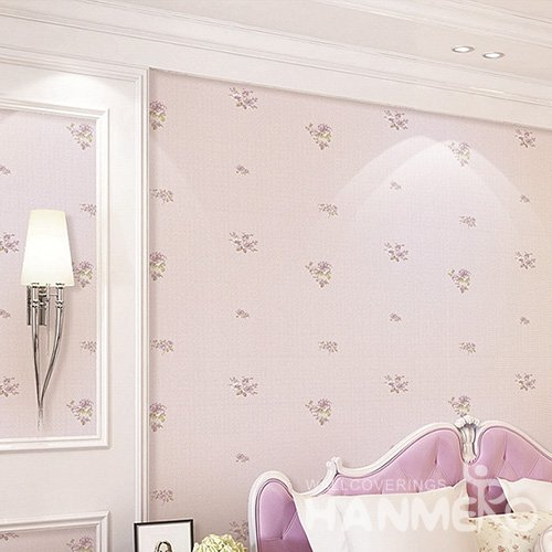 HANMERO Wall Decoration Pastoral PVC Foam Floral Pink Room Interior Wallpaper