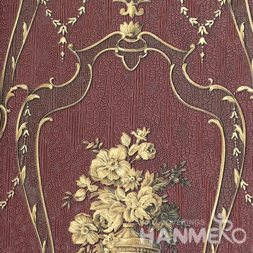 HANMERO European Deep Embossed PVC Red Floral Wallpaper 580g 0.53*10M/Roll