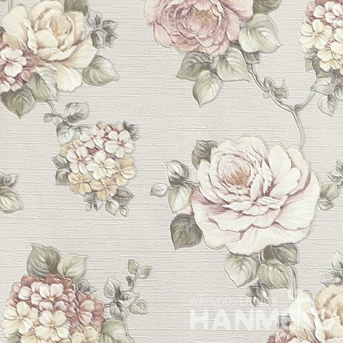 HANMERO Pastoral Deep Embossed PVC Pink Floral Wallpaper 580g 0.53*10M/Roll