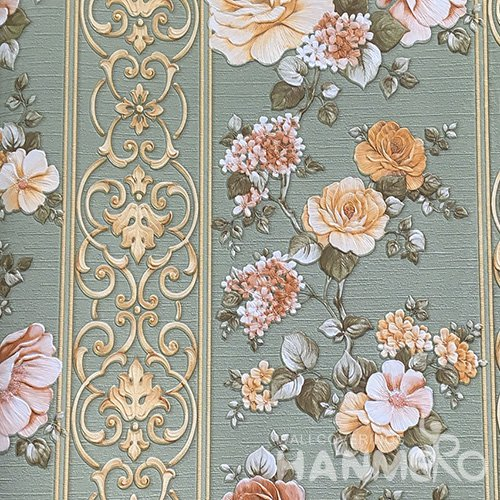 HANMERO Pastoral Deep Embossed PVC Multicolor Floral Wallpaper 580g 0.53*10M/Roll
