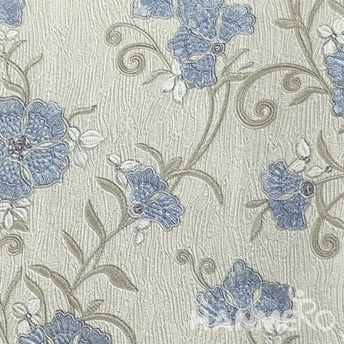 HANMERO Pastoral Deep Embossed PVC Blue Floral Wallpaper 580g 0.53*10M/Roll