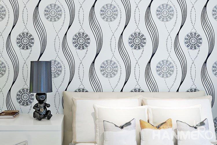Hanmero Modern Geometric Flower Black And White Pvc
