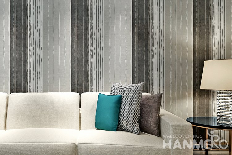 Hanmero Modern Stripe White Black And Grey Color Peel And Stick Wall Paper Removable Stickers