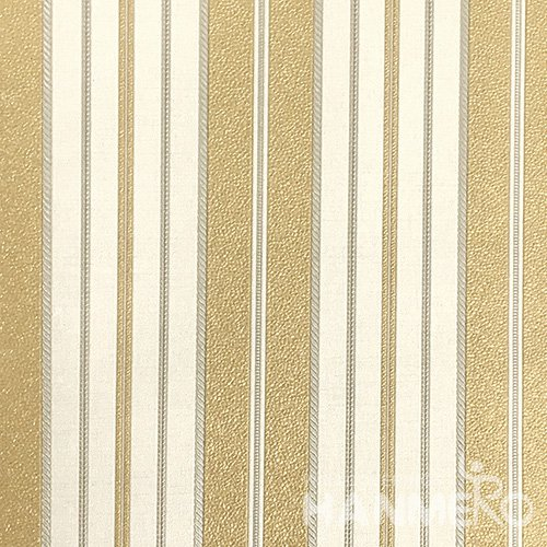 HANMERO European PVC Embossed With Yellow Stripes Wide Korean Wallpaper 1.06*15.6M/Roll