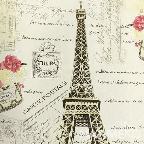 HANMERO Modern PVC Embossed With White Eiffel Tower Wide Korean Wallpaper 1.06*15.6M/Roll