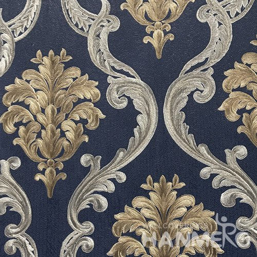 HANMERO Standard Floral PVC Wallpaper European Blue  0.53*10M/Roll For Room Wall
