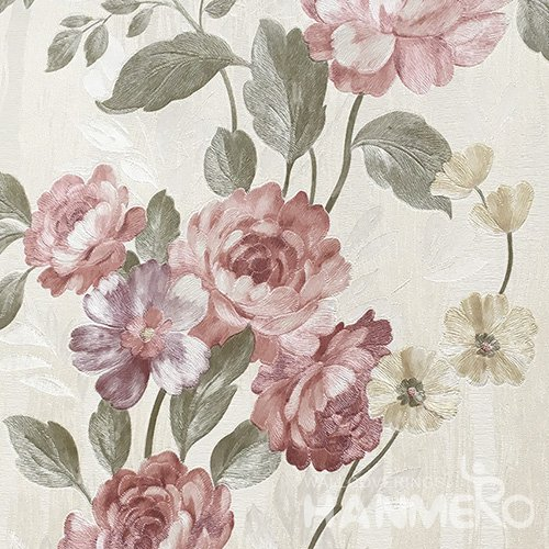 HANMERO Standard Floral PVC Wallpaper Pastoral Pink  0.53*10M/Roll For Room Wall