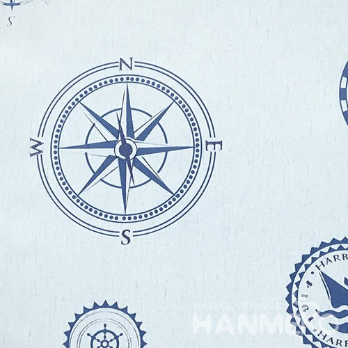 HANMERO Standard Compass PVC Wallpaper Modern Blue  0.53*10M/Roll For Room Wall