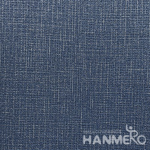 HANMERO Modern  0.53*10M/Roll PVC Wallpaper With Navy BlueSolid Embossed Surface