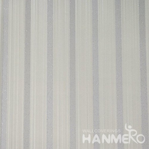 HANMERO Solid Color Modern Embossed Surface PVC Wallpaper With Silver Stripes