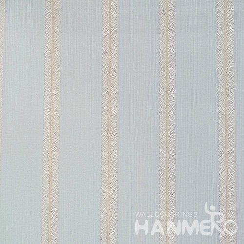 HANMERO Solid Color Modern Embossed Surface PVC Wallpaper With Blue Stripes
