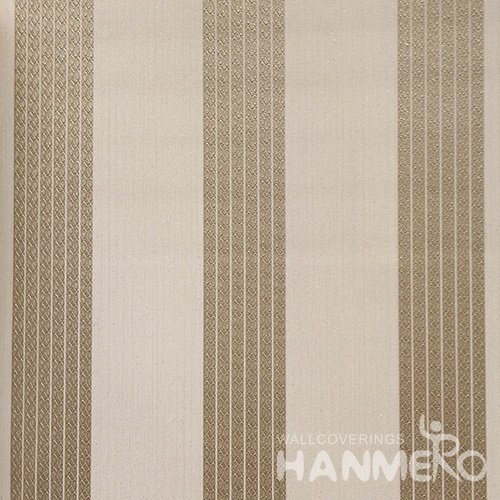 HANMERO Solid Color Modern Embossed Surface PVC Wallpaper With Gold Stripes