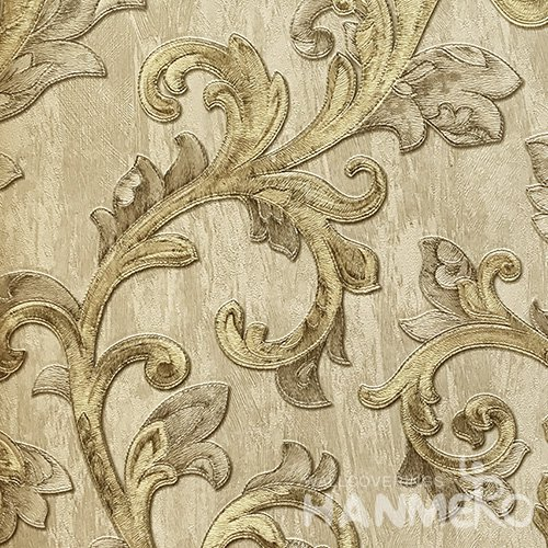 HANMERO Hot Selling 1.06*15.6M/Roll European PVC Embossed Yellow Floral Home Decorative Wallpaper