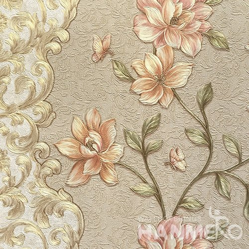 HANMERO Hot Selling 1.06*15.6M/Roll Pastoral PVC Embossed Multicolor Floral Home Decorative Wallpaper