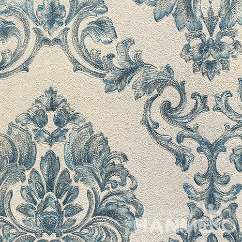HANMERO Hot Selling 1.06*15.6M/Roll European PVC Embossed Blue Floral Home Decorative Wallpaper