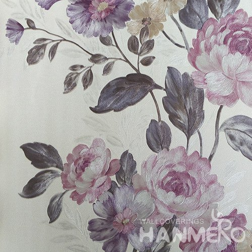 HANMERO Pink Durable Vinyl Embossed Rural Floral Wall Paper Decoration Interior