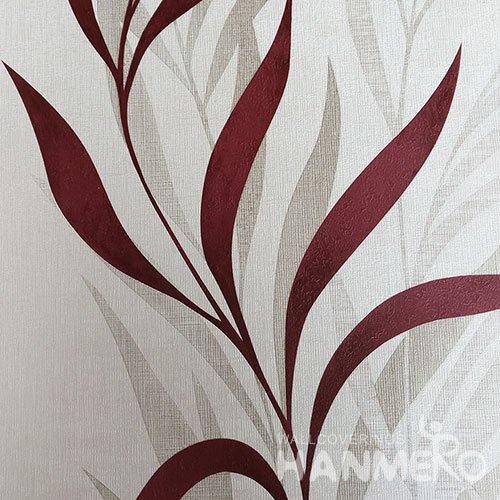 HANMERO Red Durable Vinyl Embossed Rural Leaf Wall Paper Decoration Interior