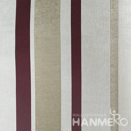 HANMERO Red Durable Vinyl Embossed Modern Stripes Wall Paper Decoration Interior