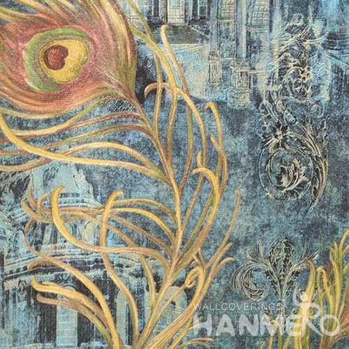 HANMERO Brand New Italian Design Classic PVC Embossed Blue Floral Home Wallpaper