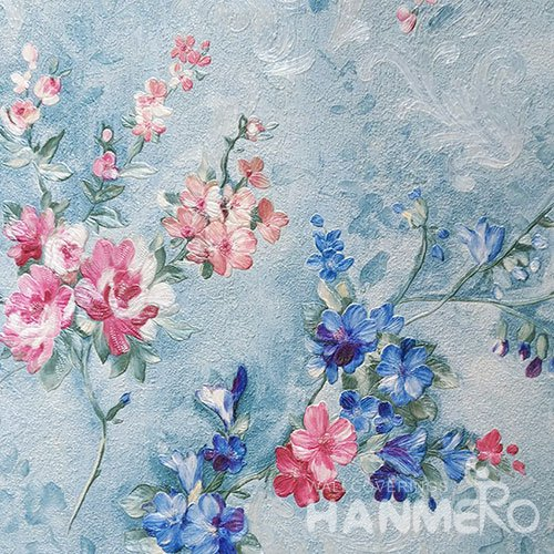 HANMERO Brand New Italian Design Rustic PVC Embossed Blue Floral Home Wallpaper