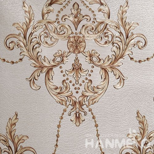 HANMERO Brand New Italian Design European PVC Embossed Brown Floral Home Wallpaper