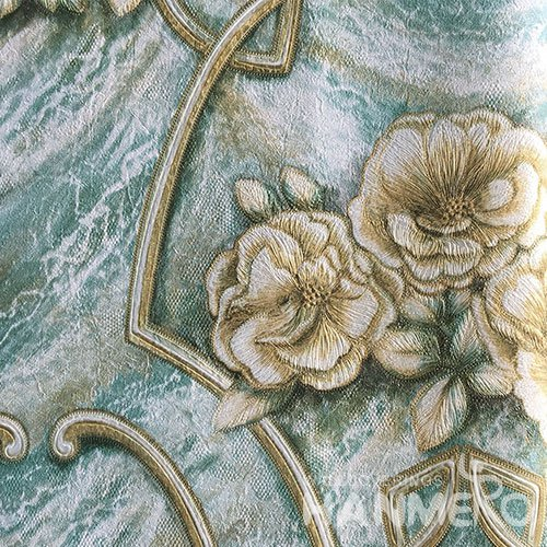 HANMERO Brand New Italian Design European PVC Embossed Green Floral Home Wallpaper