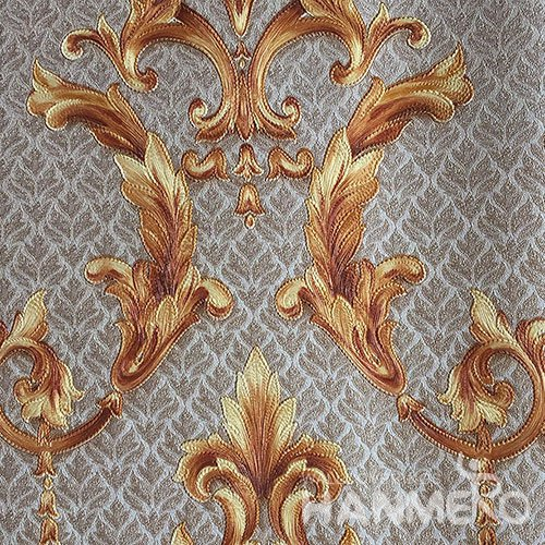 HANMERO Brand New Italian Design European PVC Embossed Grey And Brown Floral Home Wallpaper