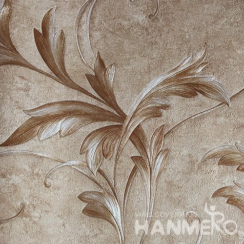 HANMERO Brand New Italian Design European PVC Embossed Brown Leaf Home Wallpaper