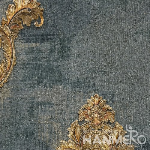 HANMERO Brand New Italian Design European PVC Embossed Dark Green Floral Home Wallpaper