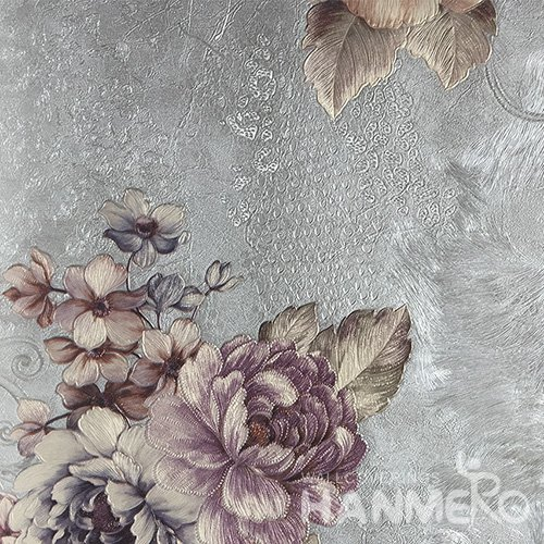 HANMERO Brand New Italian Design European PVC Embossed Grey Floral Home Wallpaper