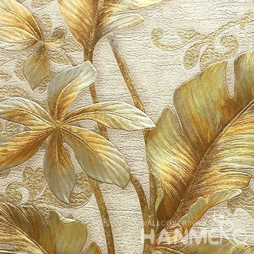 HANMERO Standard PVC Material Modern Style  0.53*10M/Roll Gold Floral Wallpaper For Room