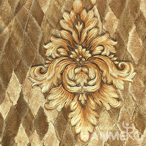 HANMERO Standard PVC Material European Style  0.53*10M/Roll Brown Floral Wallpaper For Room