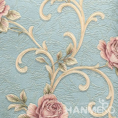 HANMERO Standard PVC Material Pastoral Style  0.53*10M/Roll Blue Floral Wallpaper For Room