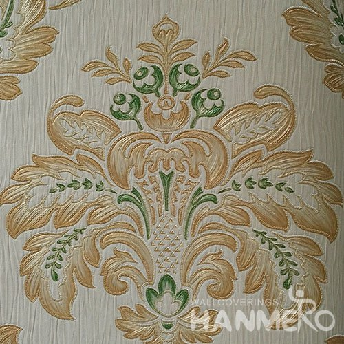 HANMERO Standard PVC Material European Style  0.53*10M/Roll Green And Yellow Floral Wallpaper For Room