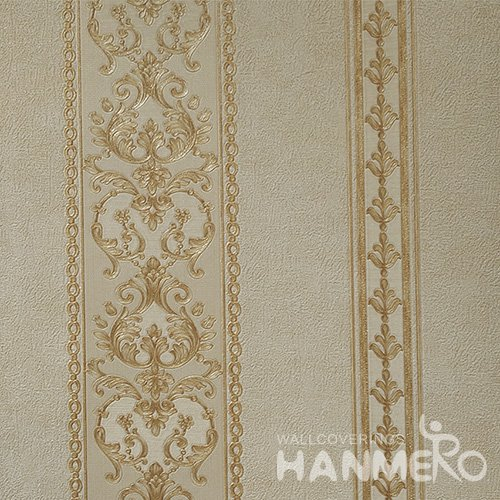 HANMERO Standard PVC Material European Style  0.53*10M/Roll Yellow Floral Wallpaper For Room