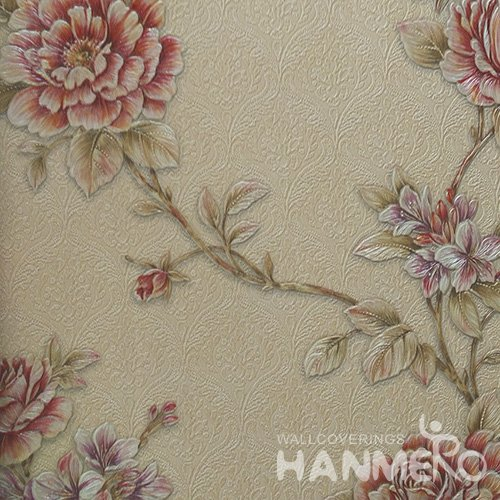 HANMERO Standard PVC Material Pastoral Style  0.53*10M/Roll Red Floral Wallpaper For Room