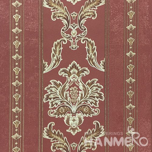 HANMERO 0.53*10M/Roll European PVC Embossed Wallpaper With Red Damask For Wall