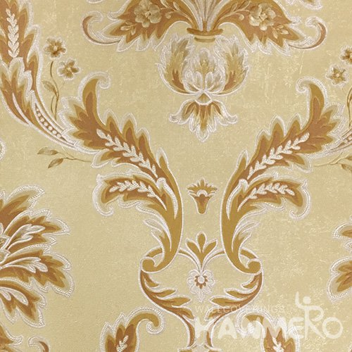 HANMERO 0.53*10M/Roll European PVC Embossed Wallpaper With Yellow Damask For Wall