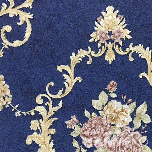 HANMERO 0.53*10M/Roll European PVC Embossed Wallpaper With Blue Damask For Wall