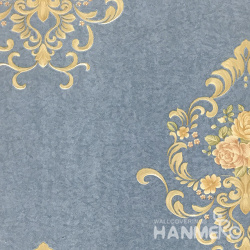 HANMERO 0.53*10M/Roll European PVC Embossed Wallpaper With Blue Floral For Wall