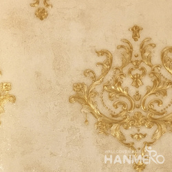 HANMERO 0.53*10M/Roll European PVC Embossed Wallpaper With Yellow Floral For Wall