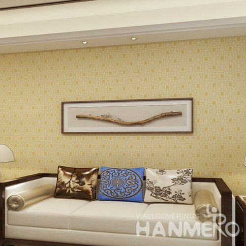 HANMERO Embossed Modern Geometric Yellow PVC Wallpaper For Home Interior Decoration