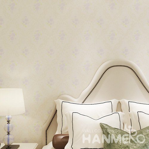 HANMERO Embossed Pastoral Floral White And Purple PVC Wallpaper For Home Interior Decoration