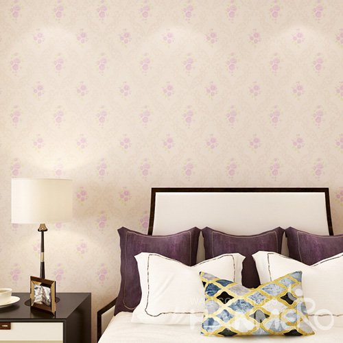 HANMERO Embossed Pastoral Floral Pink PVC Wallpaper For Home Interior Decoration