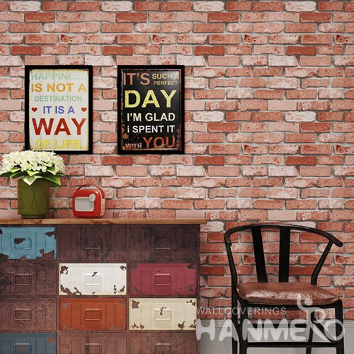 HANMERO Embossed Modern Red Brick PVC Wallpaper For Home Interior Decoration