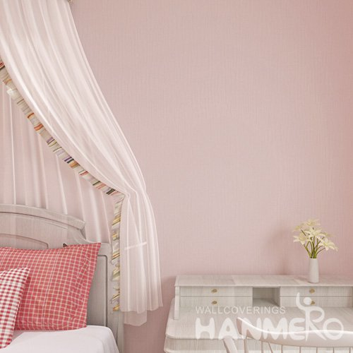 HANMERO Embossed Modern Solid Pink PVC Wallpaper For Home Interior Decoration