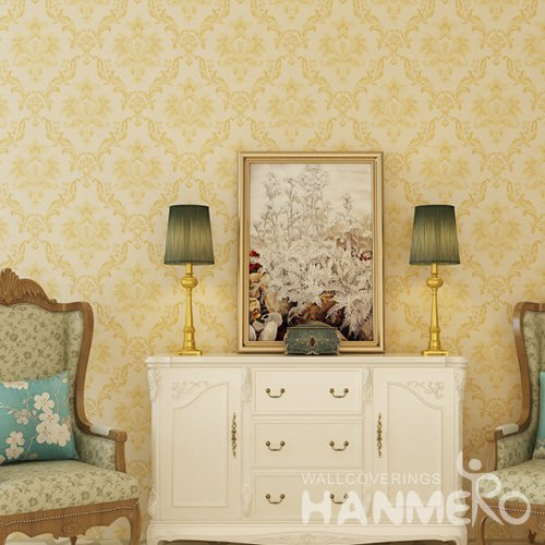 HANMERO Embossed European Floral Yellow PVC Wallpaper For Home Interior Decoration