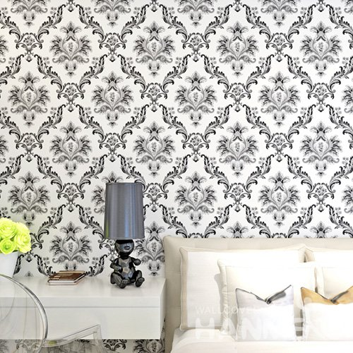 HANMERO Embossed European Floral Black And White PVC Wallpaper For Home Interior Decoration