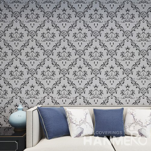 HANMERO Embossed European Floral Black And Grey PVC Wallpaper For Home Interior Decoration