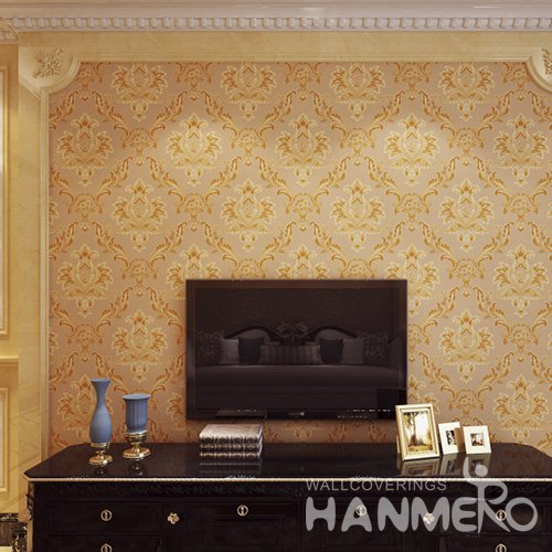HANMERO Embossed European Floral Brown PVC Wallpaper For Home Interior Decoration